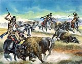 Ron Embleton Native American Indians killing American Bison Print