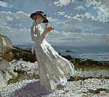 Sir William Orpen Grace reading at Howth Bay Print