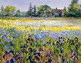 Timothy Easton - Irises and Two Fir Trees