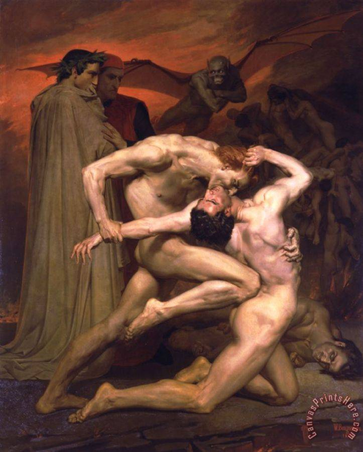 William Adolphe Bouguereau Dante And Virgil in Hell Art Print