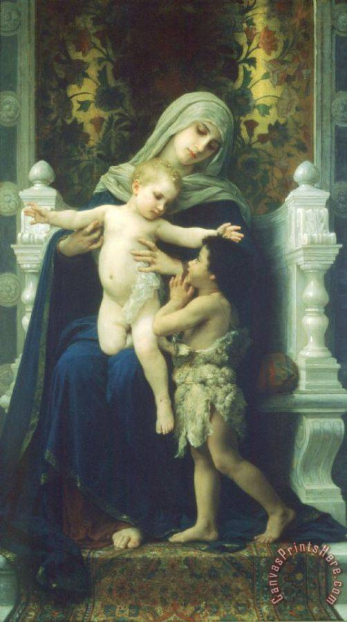 William Adolphe Bouguereau The Virgin, Baby Jesus And Saint John The Baptist Art Print
