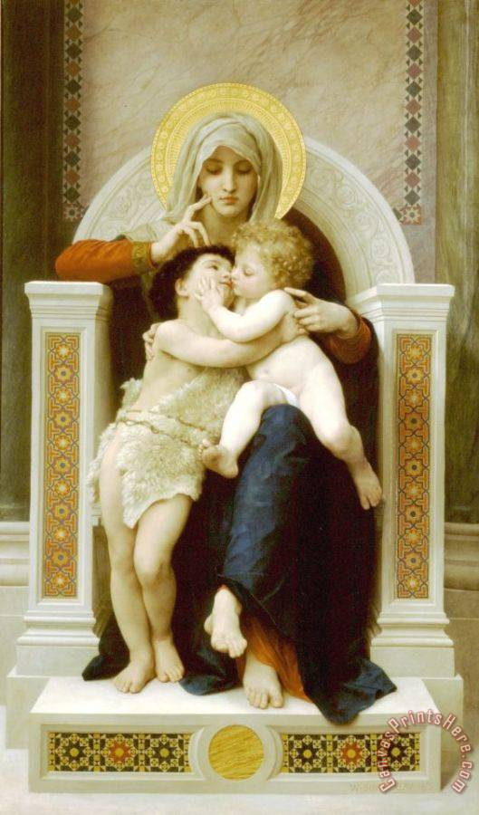 William Adolphe Bouguereau The Virgin, The Baby Jesus And Saint John The Baptist Art Print