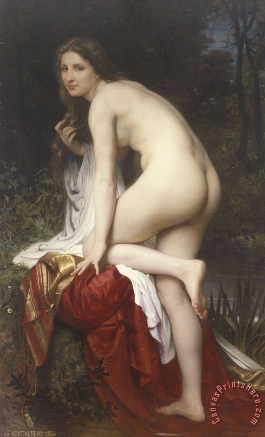 William Adolphe Bouguereau Woman Bathing Art Print
