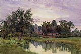 Evening at Hemingford Grey Church in Huntingdonshire by William Fraser Garden